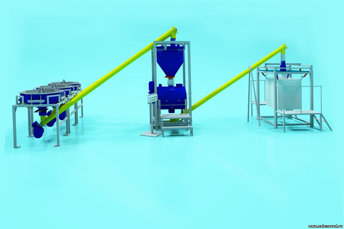 Линия по производству сухих строительных смесей на гипсовой основе 40 тонн в смену